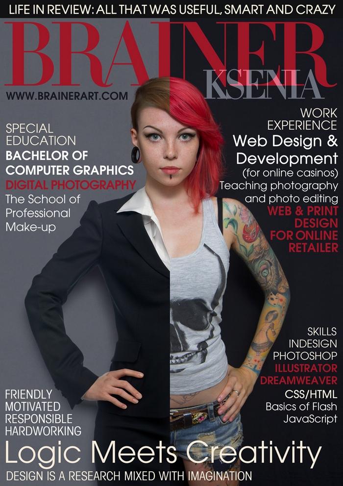 Оригинальное резюме дизайнера, сделанное в формате журнальной обложки.